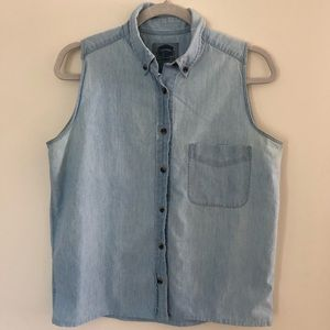 Cambridge Dry Goods Denim Collar Tank 100% Cotton